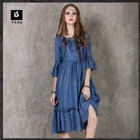 The 2017 Fall Fashion Brand Ladies 100 Cotton Vintage Embroidered Retro Ruffle Women Evening Sexy Long
