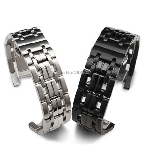 Image 5 - New Arrival 316L Stainless Steel Watchband Concave Mouth 22*13mm 20*11mm Silver Black Bracelet with Butterfly Clasp For GC Watch