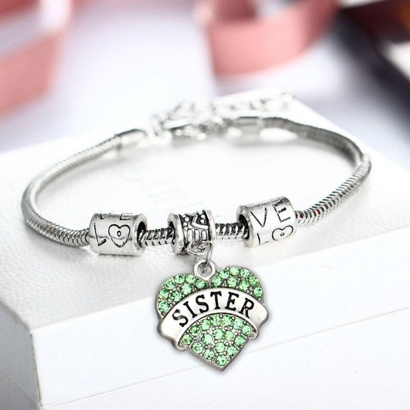 Fashion Green Sister Sis Retro Heart Pendant Bracelet Crystal Rhinestone Bangle Family Girl Gifts Party Shiny Lovely Jewelry Hot