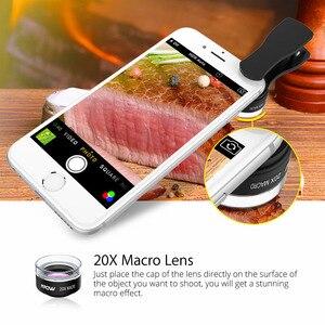 Image 5 - MFE4 Mpow 3 en 1 Kits de lentilles de téléphone portable clipsables objectif Fisheye 180 degrés + objectif grand Angle 0.36X + objectif Macro 20X 3 objectifs séparés