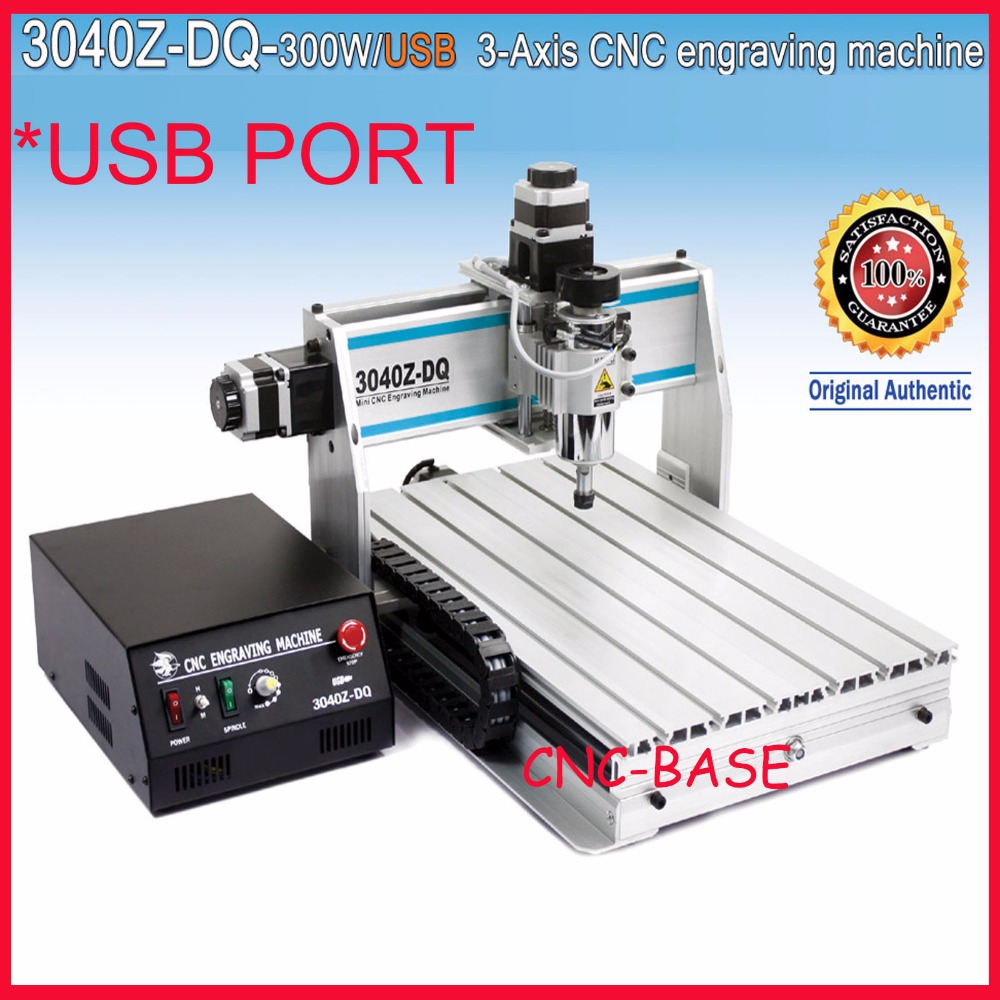 USB Port ! ballscrew 3040 cnc router 300W spindle , cnc machine , engraving milling and drilling machine , CNC engraver free tax desktop cnc wood router 3040 engraving drilling and milling machine