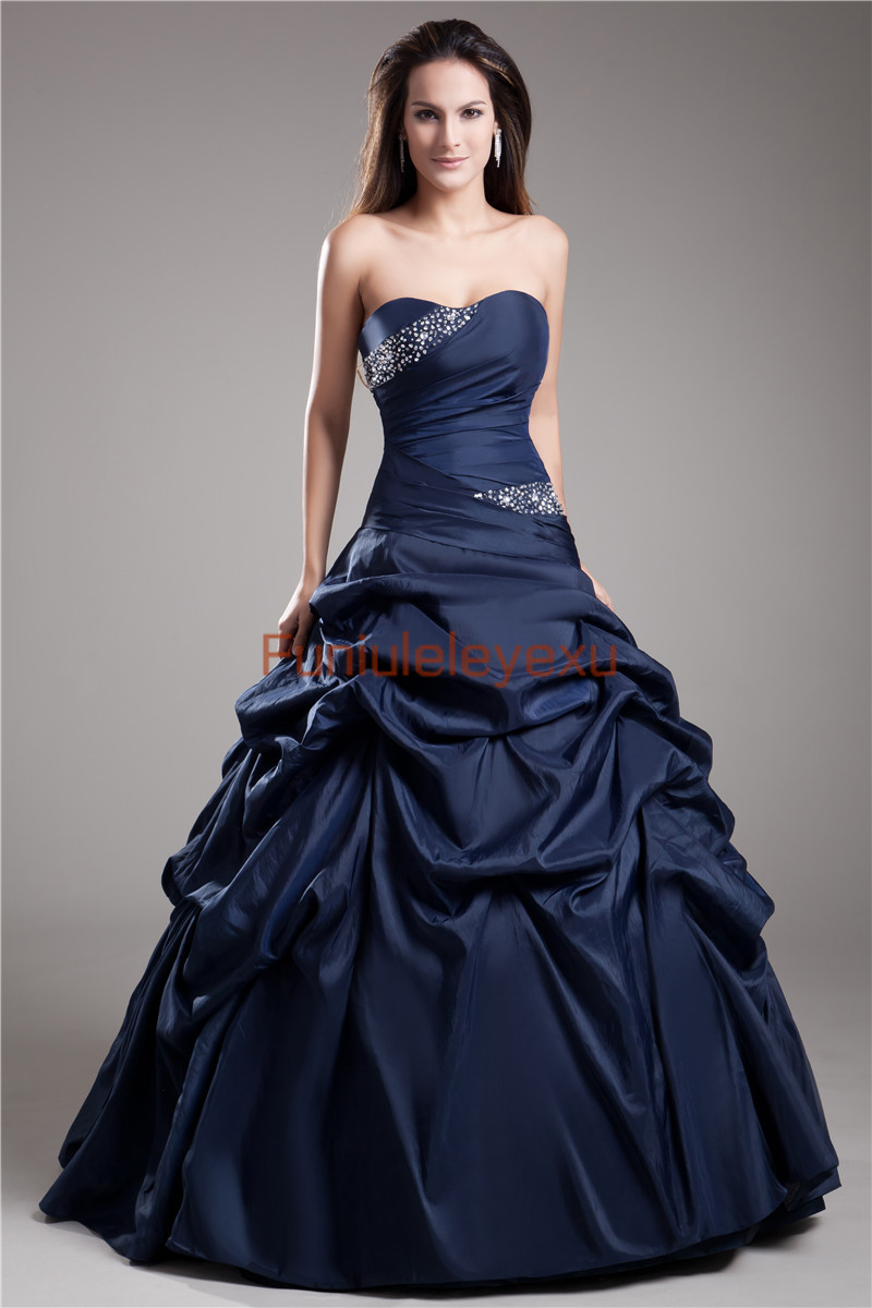 9 Styles Ball Gown Strapless Sweetheart Ruffle Formal Pageant ...