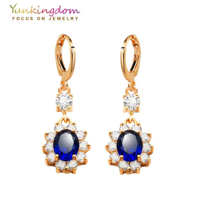 Yunkingdom Classic Wedding Earrings For Women Gold Color Jewelry Dark Blue Crystal Cubic Zirconia Earring K0930