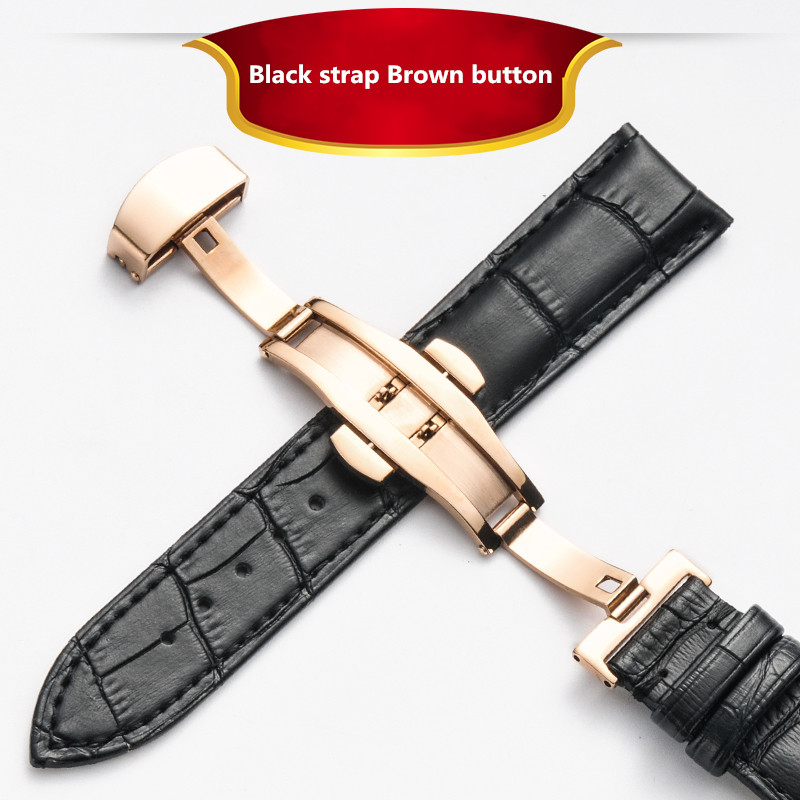 Cowhide Leather Watch Band Strap Stainless Steel Butterfly Clasp 12mm 14mm 18mm 20m 22mm 24mm Watchband Exquisite Wooden Box in Watchbands from Watches