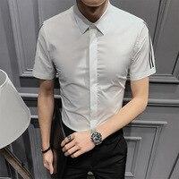 2019 New Fashion Men Shirt White Short Sleeve Mens Dress Shirts Summer Slim Fit Casual Shirt For Male Plus Size