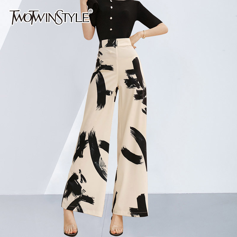 TWOTWINSTYLE Ink Wide Leg Pants For Women High Waist Zipper Large Size Maxi Trousers Female 2019