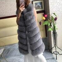 Натуральный Реальный Лисий Меховой жилет Длинные Крест лиса куртка модные тонкие женские зимние теплые замшевая жилетка