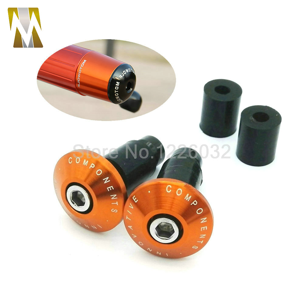 Hot Sale New Orange Color  Motorcycle CNC Aluminum Handlebar Grips Barend Bar Ends Slider Plug 7/8