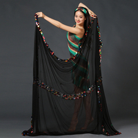 New 2016 Stage Prop Women Dancewear Accessories Organdy Veil Shawls With Coins Belly Dance Veils Performance