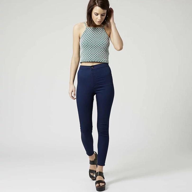 Women Fashion Skin Tight Blue Black Dark Grey Pencil Pants -3030
