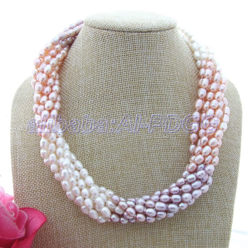 Gg 18'' 8 Strands Multi Color Rice Pearl Necklace(china (mainland)