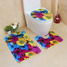 Flannel Printing Thickening and Warm 3D Red Rose Patterns Bathroom Slip-proof Toilet Cushion Three-piece Set bathroom carpet mat cartoon frog style warm keeping flannel toilet mat cushion green