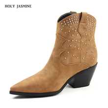 New Suede Leather Ankle Boots for Women Pointed Toe Spike Heels Cowboy Boots Rivets Studded Slip on Leather Shoes Botines Mujer цена
