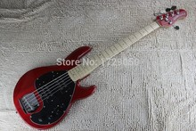 China guitar factory custom 2015 new music MAN StingRay 5 Strings red Electric Bass guitar with active pickups 1221