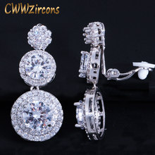 CWWZircons Clip on Ear Round Drop Cubic Zirconia Non Pierced Earrings Fashion Wedding Jewelry Womens Accessories CZ427(China)