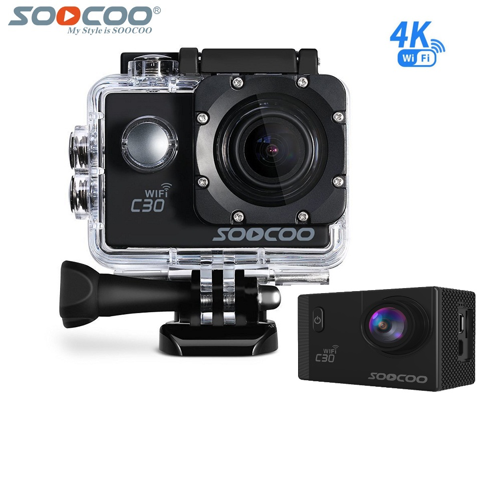 SOOCOO C30 Action 4K Sports Camera NTK96660 Waterproof Wifi Gyro 70-170 Degrees Adjustable Gyro Stabilization Action Cam