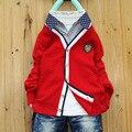 Новая Мода дети свитера мальчики одежда повседневная дети кардиганы Трикотаж твердых ребенка свитера Британский стиль мальчиков одежда