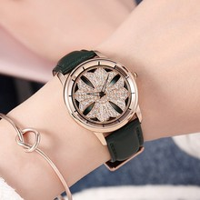 2019 GUOU Fashion Ladies Rotation Watch Rose Gold Women Watches Elegant Leather Strap Rhinestone Casual Female Waterproof Clock guou womens watches waterproof fashion dress ladies wrist watch simple date dial clock rose gold watch female pink black purple