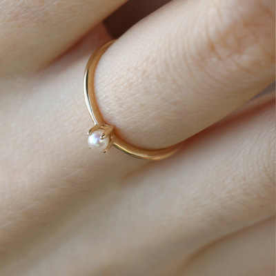 925 anillos เงินขายร้อน 14k สีเหลืองทองขนาดเล็ก Planet ฝังไข่มุกประณีต Basic Minimalist Ringl เครื่องประดับหิน
