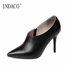 2018 Novas Ankle Boots para Mulheres Botas De Couro Genuíno Preto Sapatos De Salto Alto Bege Botas Feminina 9 cm