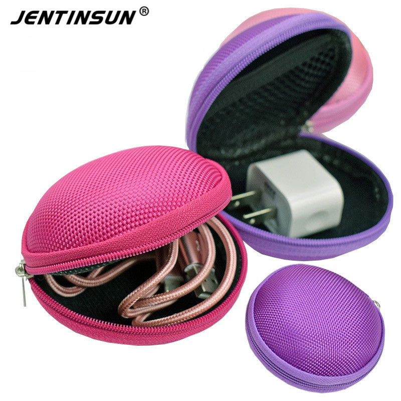 2017 New Fashion Colourful Mini Round Portable Coin Purse Wallet Key Earphone Charger SD TF Cards Storage Holder Case Bag