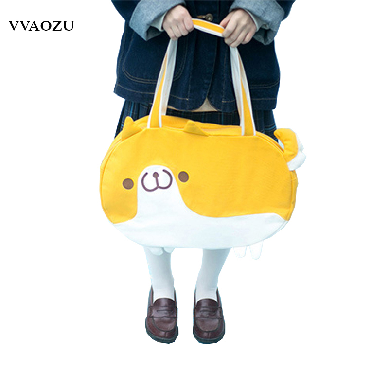 New Arrival Women Kawaii Cartoon Shoulder Bag Canvas Tote Bolsa Feminina Harajuku Doggie Style Handbag for Girls купить