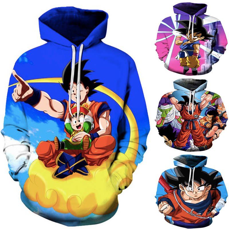 Anime Dragon Ball Z Hoodies 3D Print Son Goku Hoodie Hoody Hip Hop Casual Coat Sweatshirts Hooded Casual Coat Dragon Ball Super