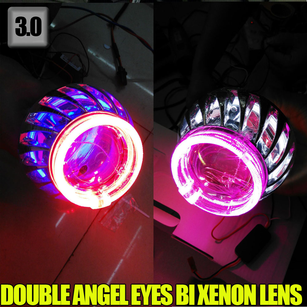 3.0 inch 12V 35W BiXenon HID Projector Lens Double angel eyes car/motor headlight Yellow Blue Red White Green Angel eye auto motorcycle 35w 2 inch hid bixenon projector lens headlight kit 6000k 4300k blue green red yellow white ccfl angel eye