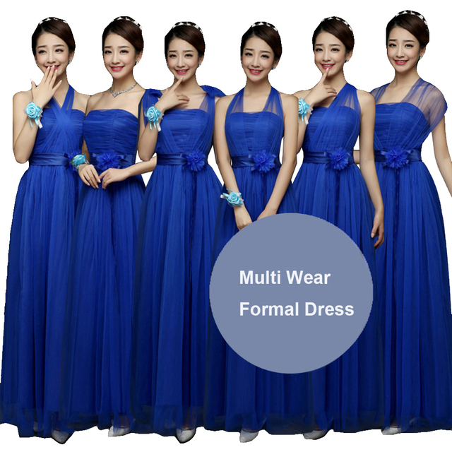 08aa0de9438 Women Royal Blue Bridesmaids Convertible Dress Multi Way Wrap Bridesmaid  Long Dresses Wedding Formal Party Maxi Dress Long Prom