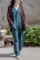 2016 Autumn Women S Jumpsuits Vintage Rompers Plus Size Salopette Romper Women Casual Elegant Cotton Linen