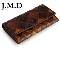 JMD Free Shipping Tanned Genuine Leather Folded Wallet For Women's Leather Long Wallet 8093