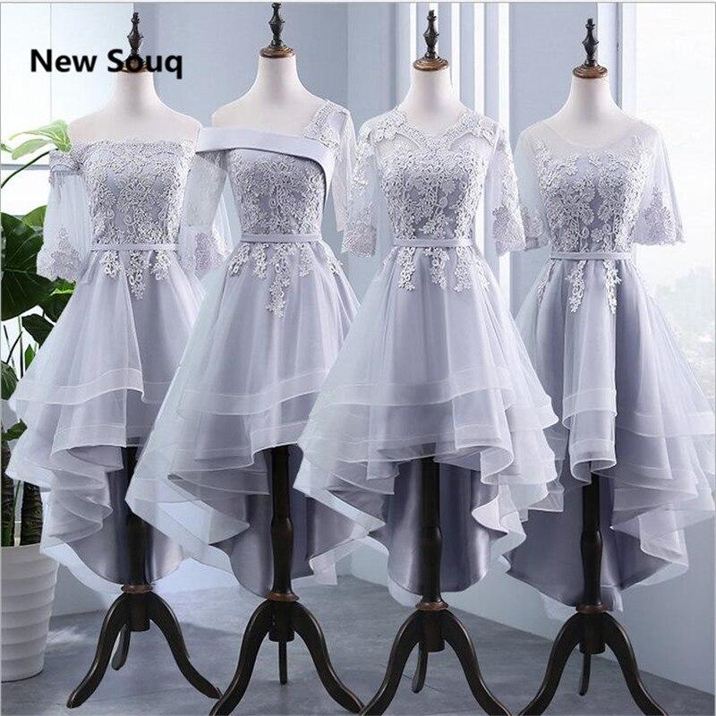 High Low Bridesmaid Dresses Applique Lace Knee Length A-Line Wedding Guest Dress Summer Country Garden Bridesmaid Dress