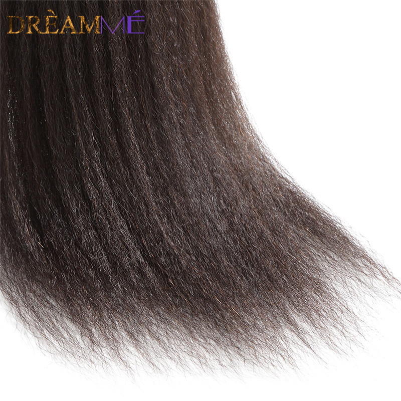 Dreamme Hair Pre-Plukket Kinky Straight Lace Frontal Closure 13x4 - Menneskehår (sort) - Foto 5