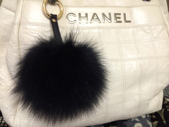 Black Pom Keychain Genuine Fur Ball Bag Charms Blue Furry Handbag
