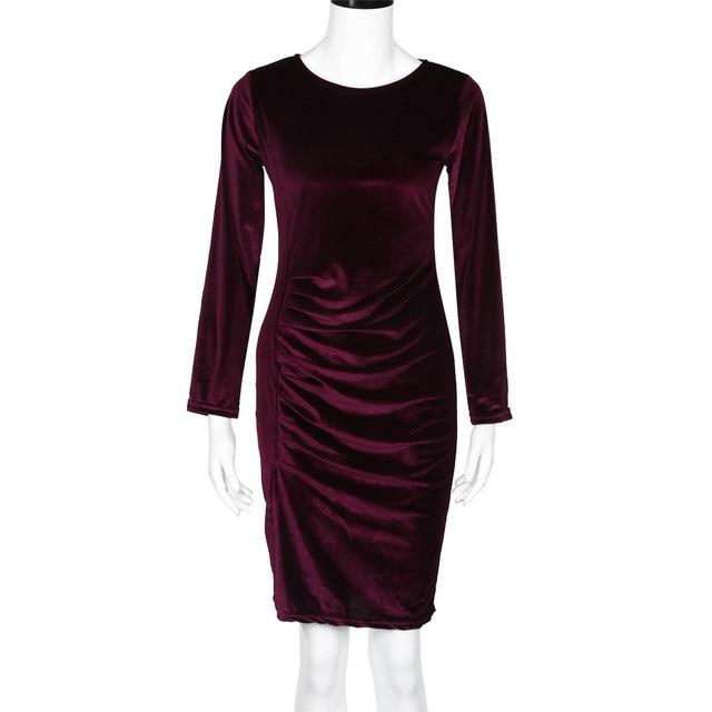 c31809292344d Mujeres de terciopelo rojo Vestido de manga larga robe sexy evening party  mini vestido envío rápido