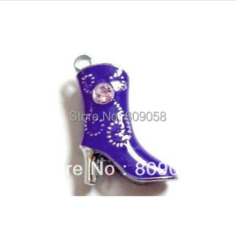 Floating Charms Enamel Boots, Fit Floating Charm Lockets, 50PCS High Quality Purple Boots Pendant Free Shipping