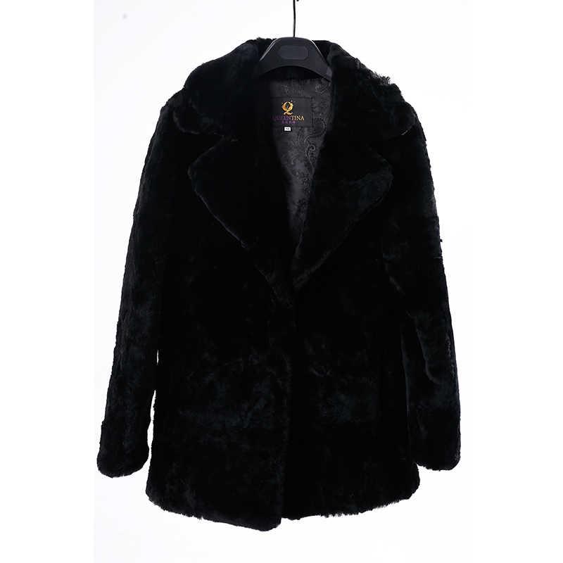 Koyun derisi Hakiki Kürk Ceket Kadınlar için 2018 Kış Kalın Sıcak Doğal Kürk Yün Ceket Kadın Dış Giyim Siyah Koyun Makaslanmış Uzun ceket