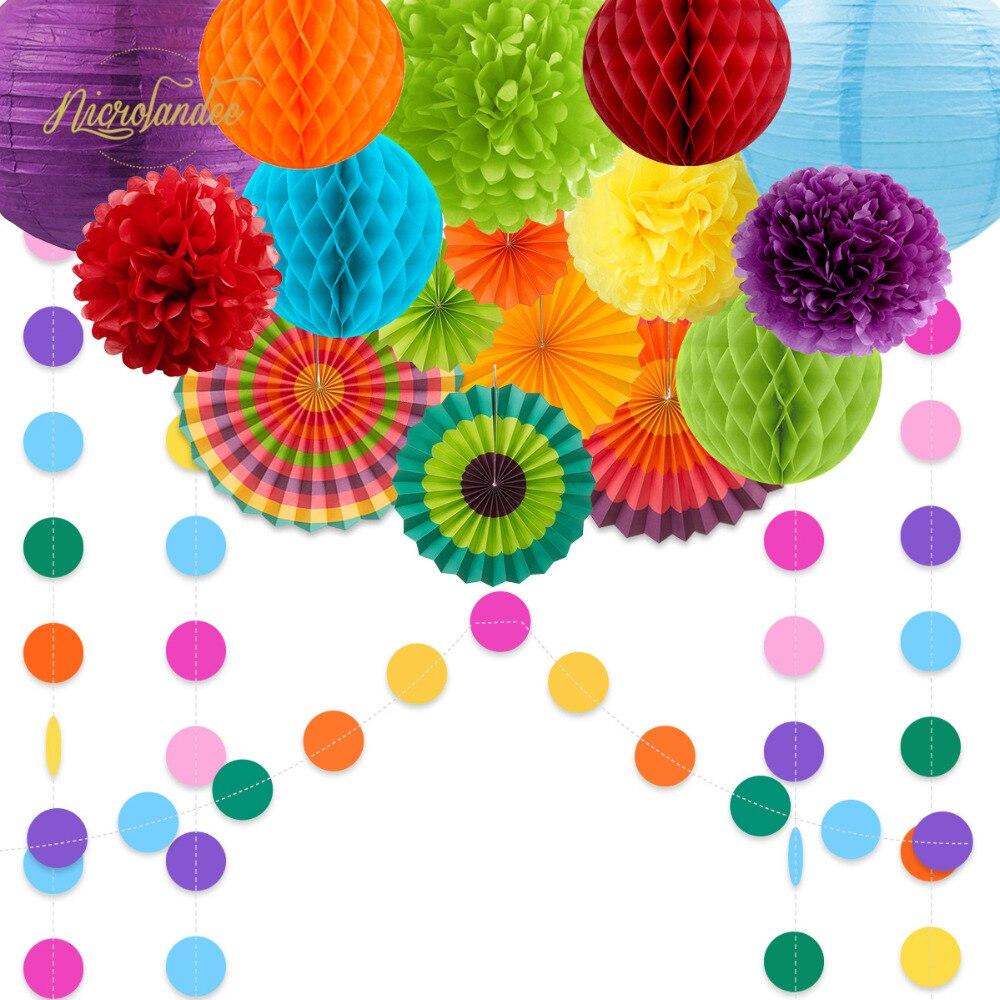 NICROLANDEE 2019 Nova 16 pçs/set Primavera Verão Partido Decoração Lanterna De Papel Fãs Conjunto Flor Home Decor New DIY