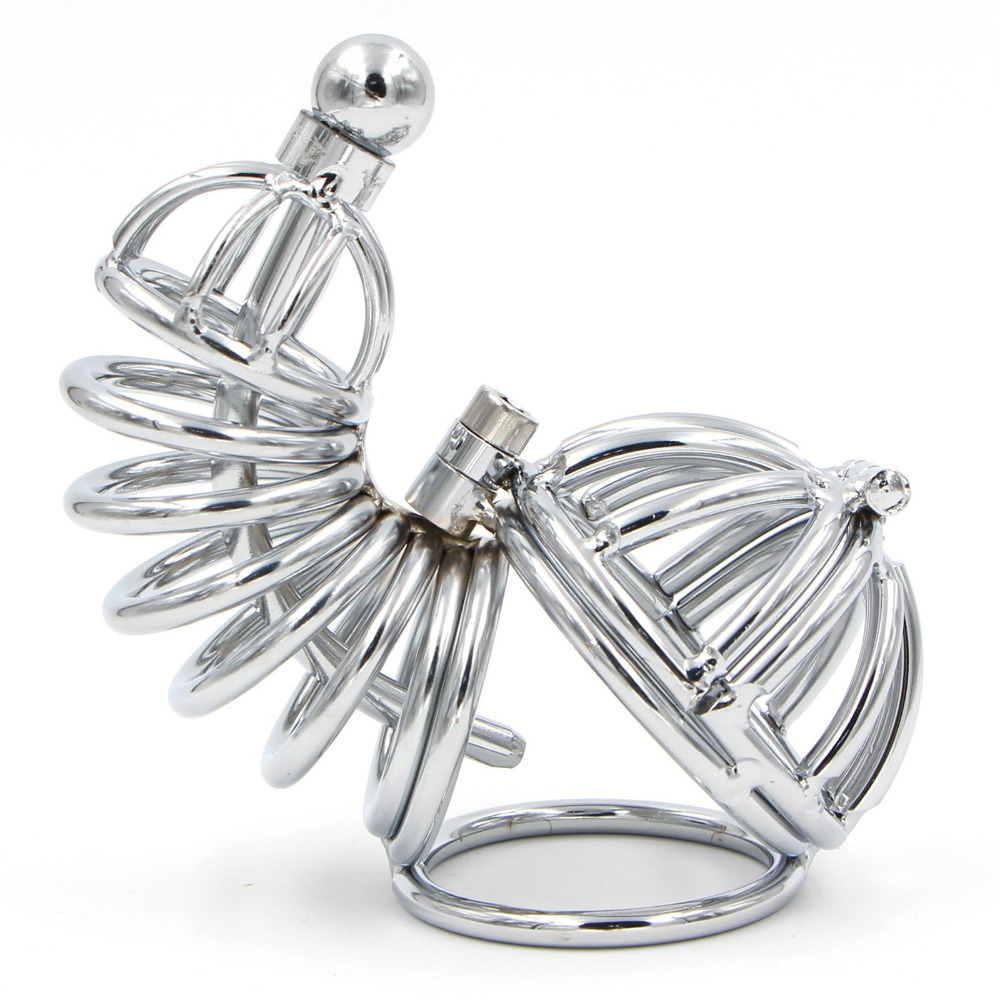 Lockable Double Chastity Cage Metal Cock Ring Strainless Steel Cock Cage Penis Sleeve Male Chastity Device Sex Toys For Men Gay
