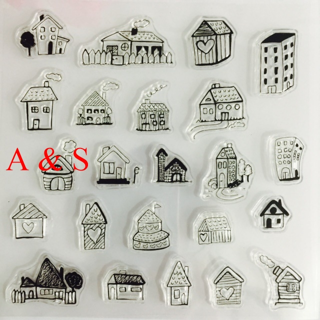 CLEAR STAMPS cutting dies Different House Scrapbook Card album paper craft silicon rubber roller transparent stamps
