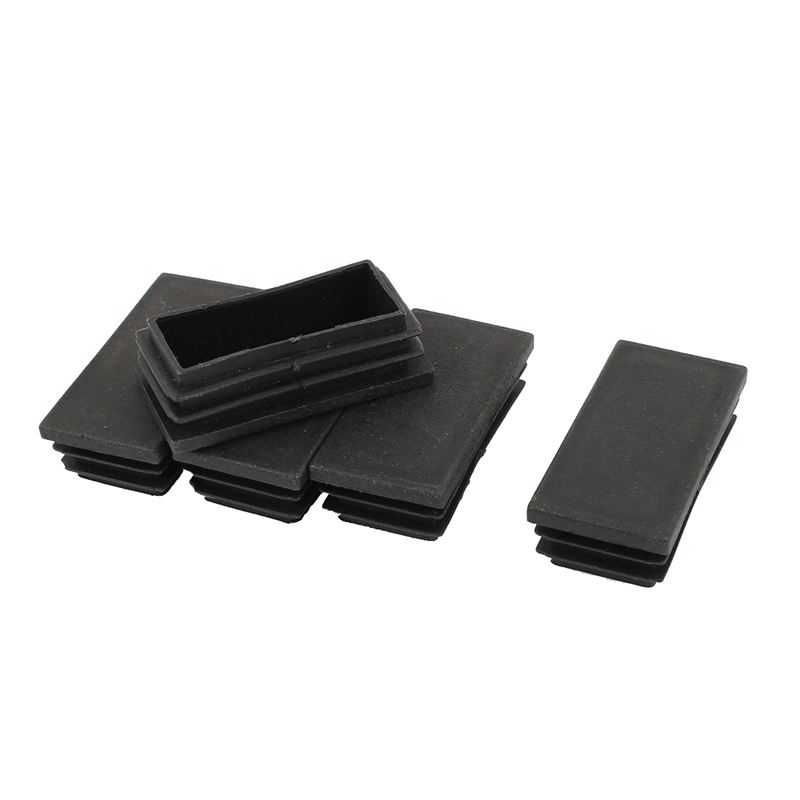 5 Pieces Rectangle Stoppers Tube Blind End Plates 60mm X 30mm Black