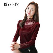 DCCGHTY2018 Fashion Sexy Women Blouse Long Sleeves Shirt Self-Cultivation Blouse High Neck Lace Embroidered Femme Shirts Camisas