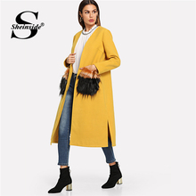 Sheinside Orange Waterfall Trench Coat Women Waist Belted Double Breasted Long