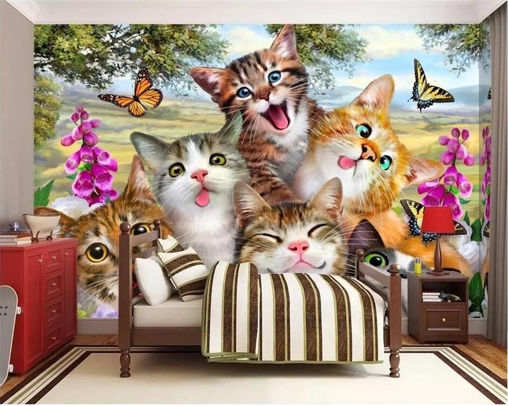 US $8 85 OFF Beibehang Foto Kustom Wallpaper 3D Lukisan Dinding Wallpaper Lucu Kartun Rumput Kucing Potret Diri Seperti Anak Anak Kamar Latar