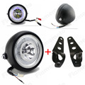 "Black LED 6 1/2"" Motorcycle Headlight Angel Eye With Bracket For Harley Honda Yamaha Suzuki Kawasaki Bobber Chopper"