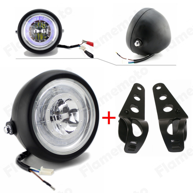 "Black LED 6 1/2"" Motorcycle Headlight Angel Eye With Bracket For Harley Honda Yamaha Suzuki Kawasaki Bobber Chopper"