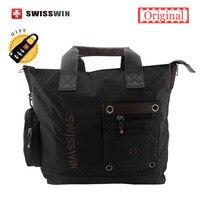 Swisswin Top Handle Bag Men 9 12 Laptop Shoulder Bag Women Big Messenger Bag Black Male