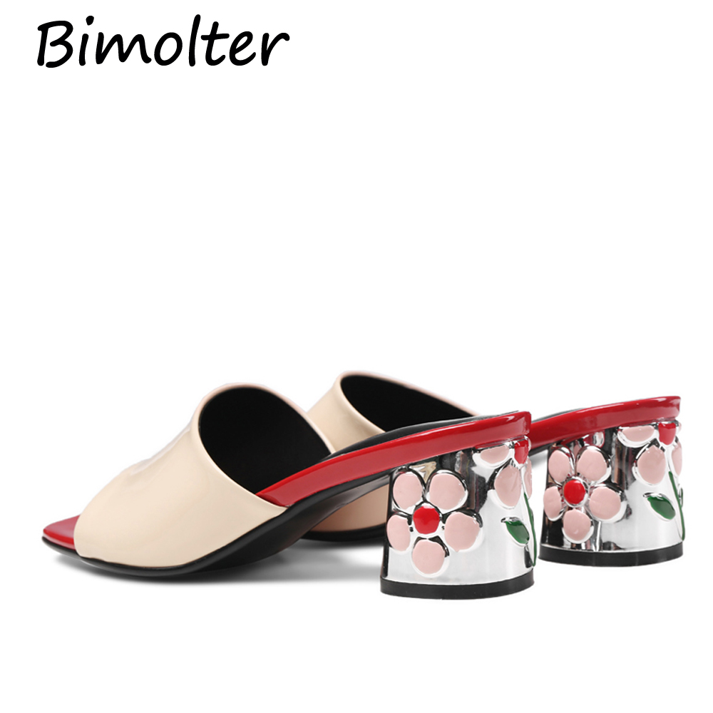 Bimolter nieuwe bloemen vierkante hakken schoenen mode 5,5 cm zomer - Damesschoenen - Foto 4