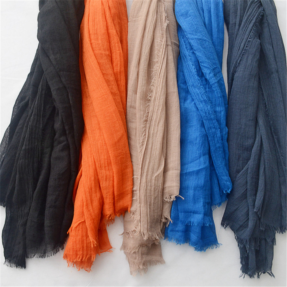 Women Fashion Big Size Fringe Cotton Viscose Scarf Lady Plain Shawls and Wraps Pashmina Stole Female Kerchief Muslim Hijab Caps(China)
