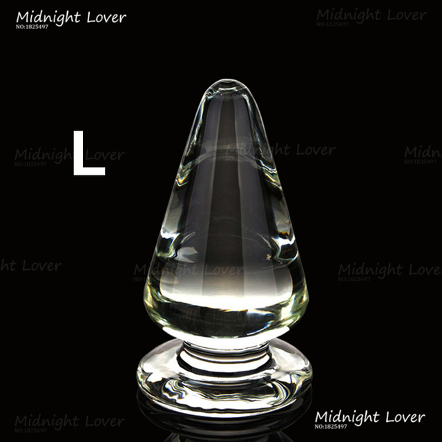 12cm*6CM Super Big Size Glass Anal Plug Smooth Cone Crystal Glass Large Butt Plug, Men & Women Sex Toys Adult Sex Products